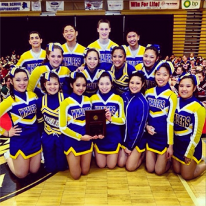 This is a picture during my junior year of cheer when my team and I won first place in our devision.